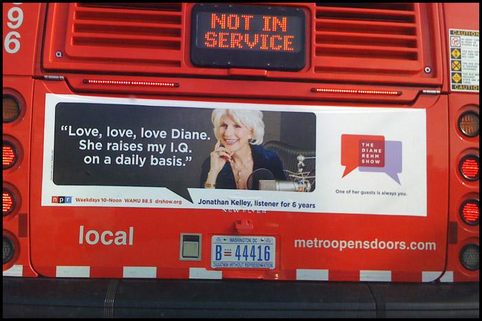 Diane Rehm bus Ad